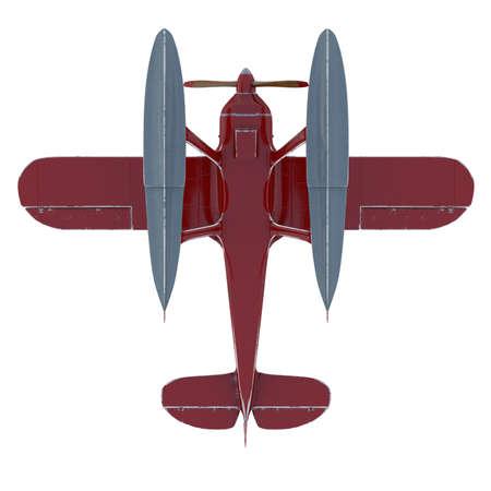 Red seaplane. 3D render