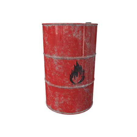 Barrel with flammable contents. 3D render.
