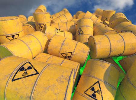 Barils contenant des déchets radioactifs. Rendu 3D.