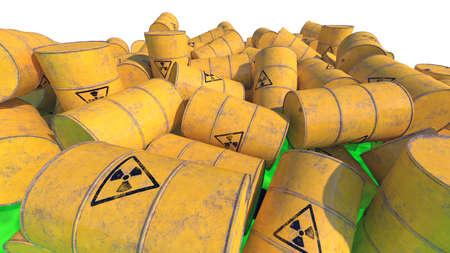 Barrels with radioactive waste. 3D render. Stok Fotoğraf