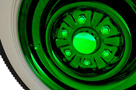 Green retro wheel. 3D render Stock Photo