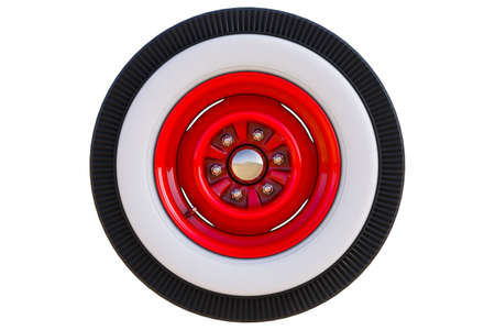 Red retro wheel. 3D render