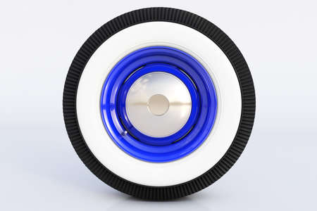 Blue retro wheel. 3D render