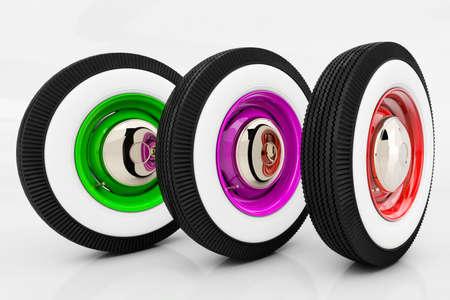 Three wheels retro. 3D render Standard-Bild - 100897994