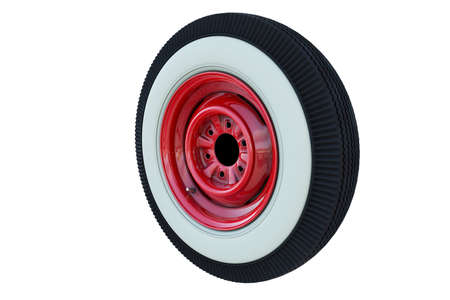 Red retro car wheel isolated on white background. 3D render