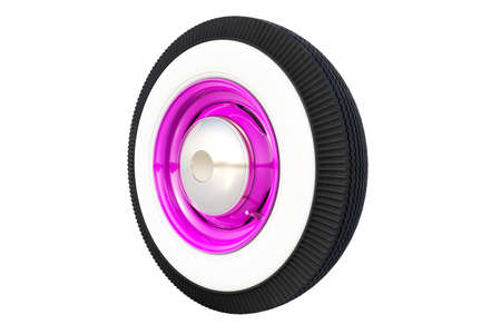Purple retro wheel. 3D render