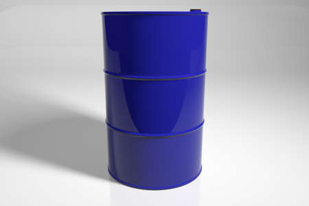 New metal blue barrel. 3D render. Stock Photo