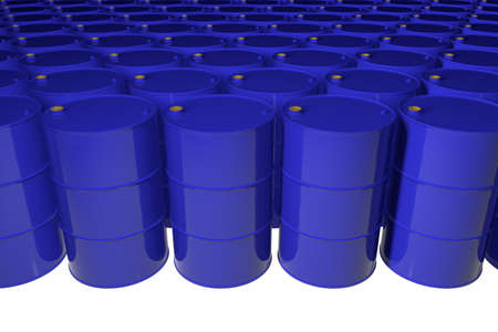 New metal blue barrels. Isolated. 3D render.
