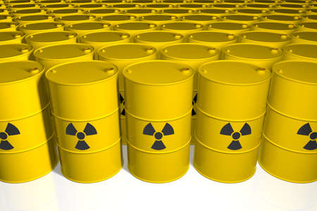 Barrels with radioactive waste. 3D render. Stock Photo
