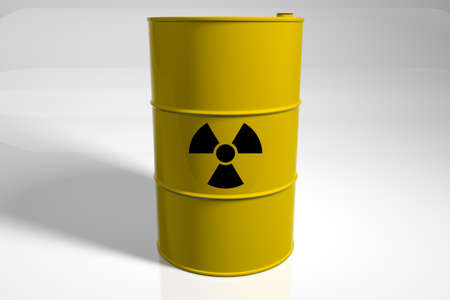 Barrel with radioactive waste. 3D render.