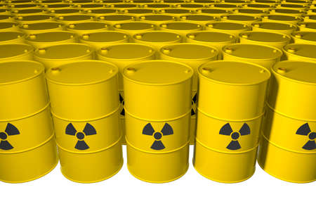 Barrels with radioactive waste. Isolated. 3D render. Stock Photo