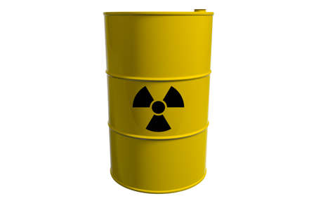 Barrel with radioactive waste. Isolated. 3D render.