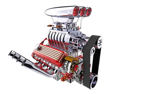 Hot rod engine isolated. 3D render Фото со стока