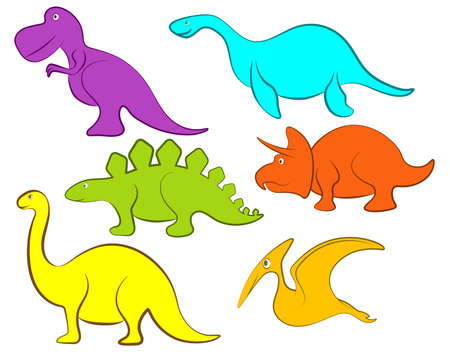 Vector illustration of Cartoon Dinosaur set isolated on white