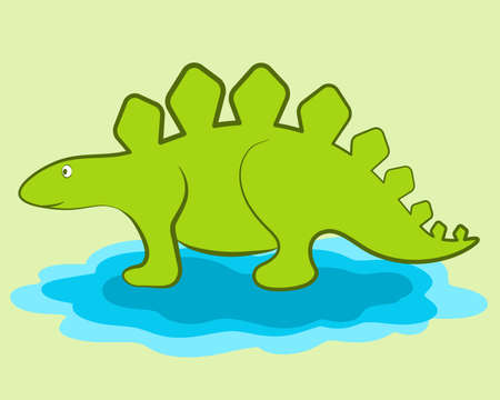 Vector illustration of Cartoon Dinosaur. Clip art Ilustração