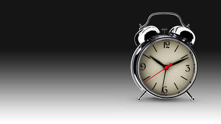 Metal alarm clock. 3D render Stock Photo