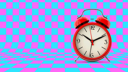 Red alarm clock. 3D render Stock Photo