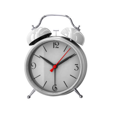 White alarm clock. 3D render