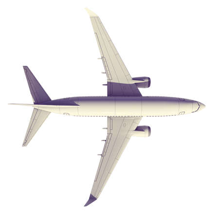 Commercial jet plane. 3D render. View from the top Stock Photo