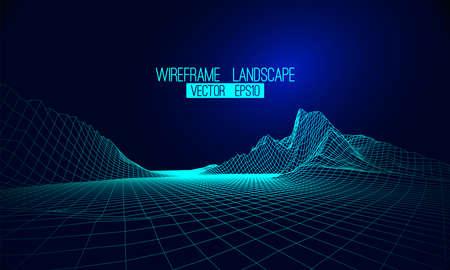 Abstract vector wireframe landscape background. Cyberspace grid. 3d Ilustración de vector