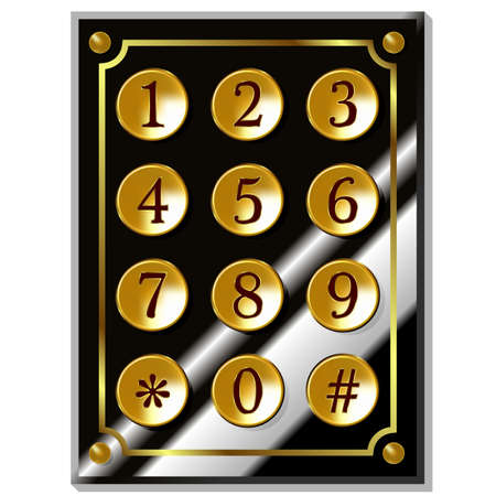 Number code keyboard in vintage style. Vector illustration