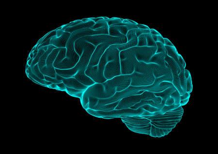 Blue wireframe brain glowing on dark space background