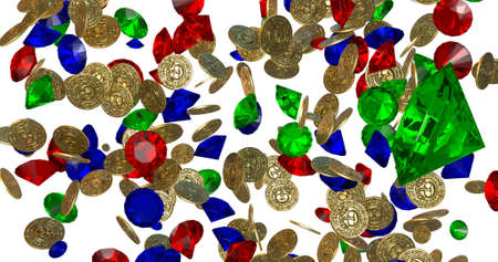 Rain of vintage gold coins. 3D render Stock Photo
