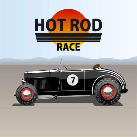 A vector illustration of a vintage hot rod.