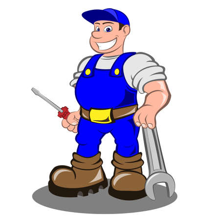 Smiling mechanic with a screwdriver and a wrench