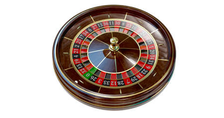 Casino roulette wheel isolated on white. 3D render illustration
