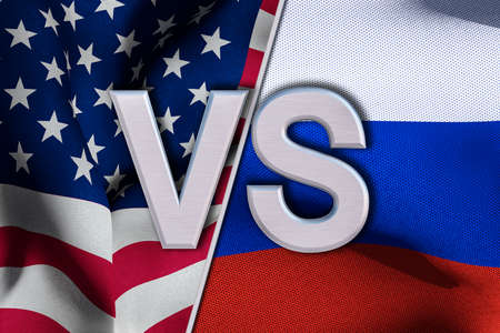 USA and Russia flags. 3D render