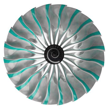 Jet engine, turbine blades of airplane, 3d render