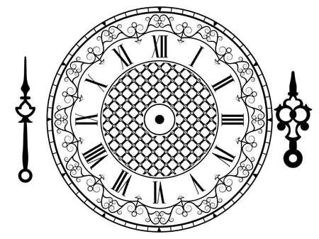 Vector vintage clock on white . Illustration clip art Illustration
