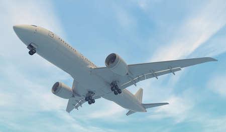 Airplane flying. 3D render Stockfoto