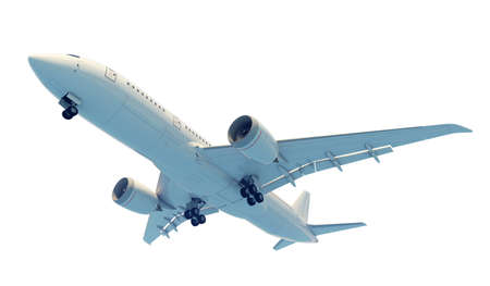 Commercial jet plane. 3D render. Bottom view side view