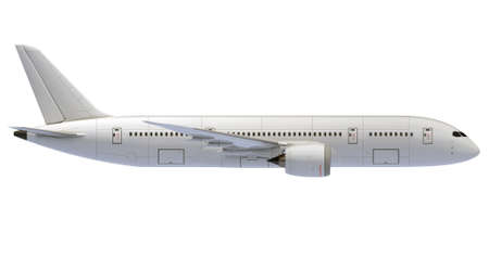 Commercial jet plane. 3D render. Right Side view