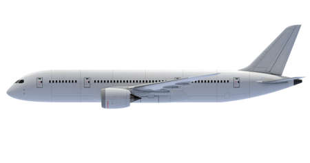 Commercial jet plane. 3D render. Left Side view