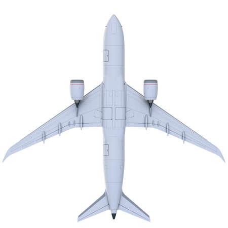 Commercial jet plane. 3D render. Bottom view