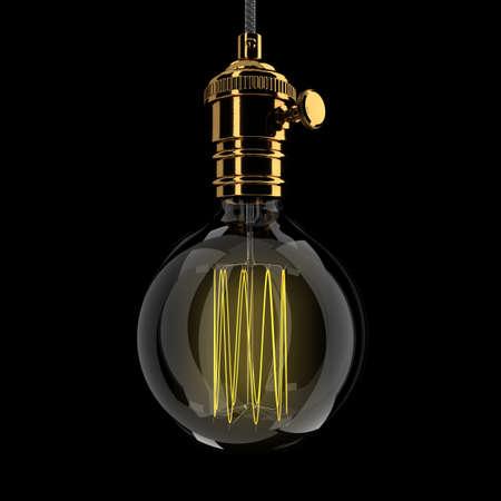 Realistic vintage glowing light bulb. 3D render