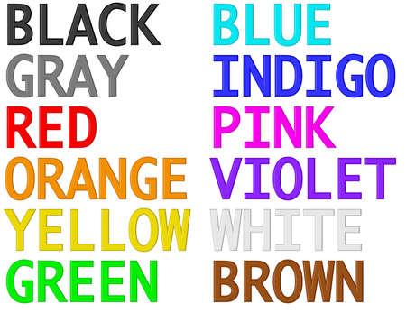 Names of colors. 3D render