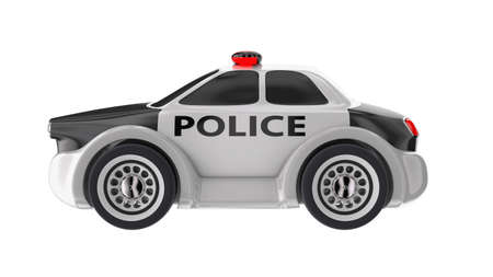 Police car toy 3d render illustration isolated on white front view Stock Photo