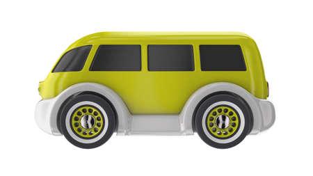 Grappige speelgoedautobus. 3D render illustratie
