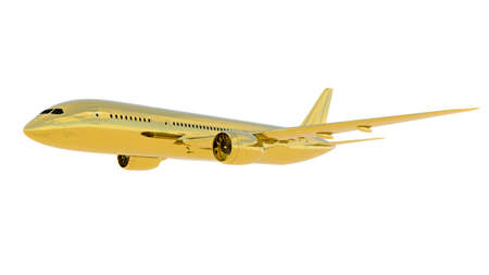 Golden jet passenger's airplane isolated on white background. 3d Render Archivio Fotografico - 120843522