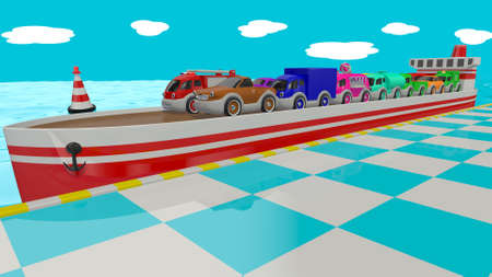 Toy cars on the dock near the ship. 3D render Archivio Fotografico - 120843527