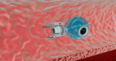 Nano robot 3D render. Medical concept future. Archivio Fotografico - 120843540