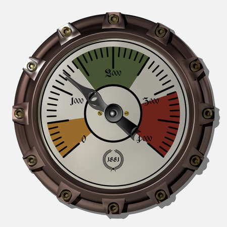 Ancient measuring device in the style of steampunk vector