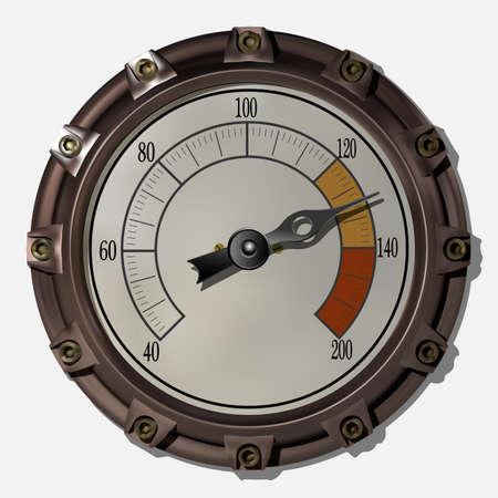Dispositivo de medición antiguo al estilo del vector steampunk