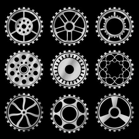 Vector silver gears set in the style of steampunk vector Archivio Fotografico - 123962419