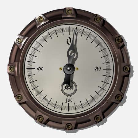 Ancient measuring device in the style of steampunk vector Archivio Fotografico - 123962421