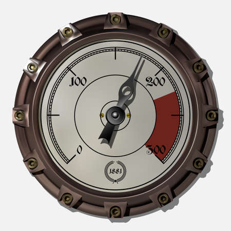 Ancient measuring device in the style of steampunk vector Archivio Fotografico - 123962422